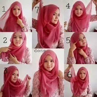 cara memakai jilbab segi empat untuk ke kampus
