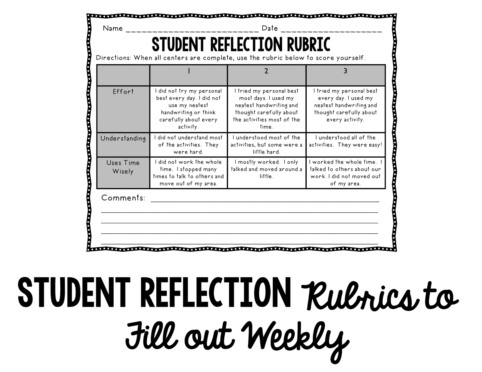 also included a weekly reflection rubric for students to complete if ...