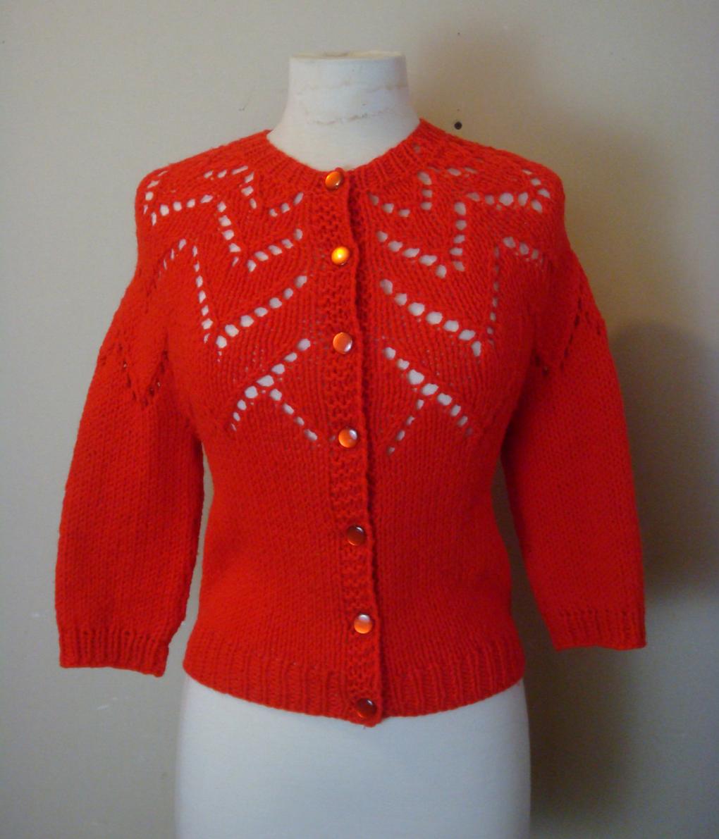 vintage crochet cardi #vintage #cardigan #red