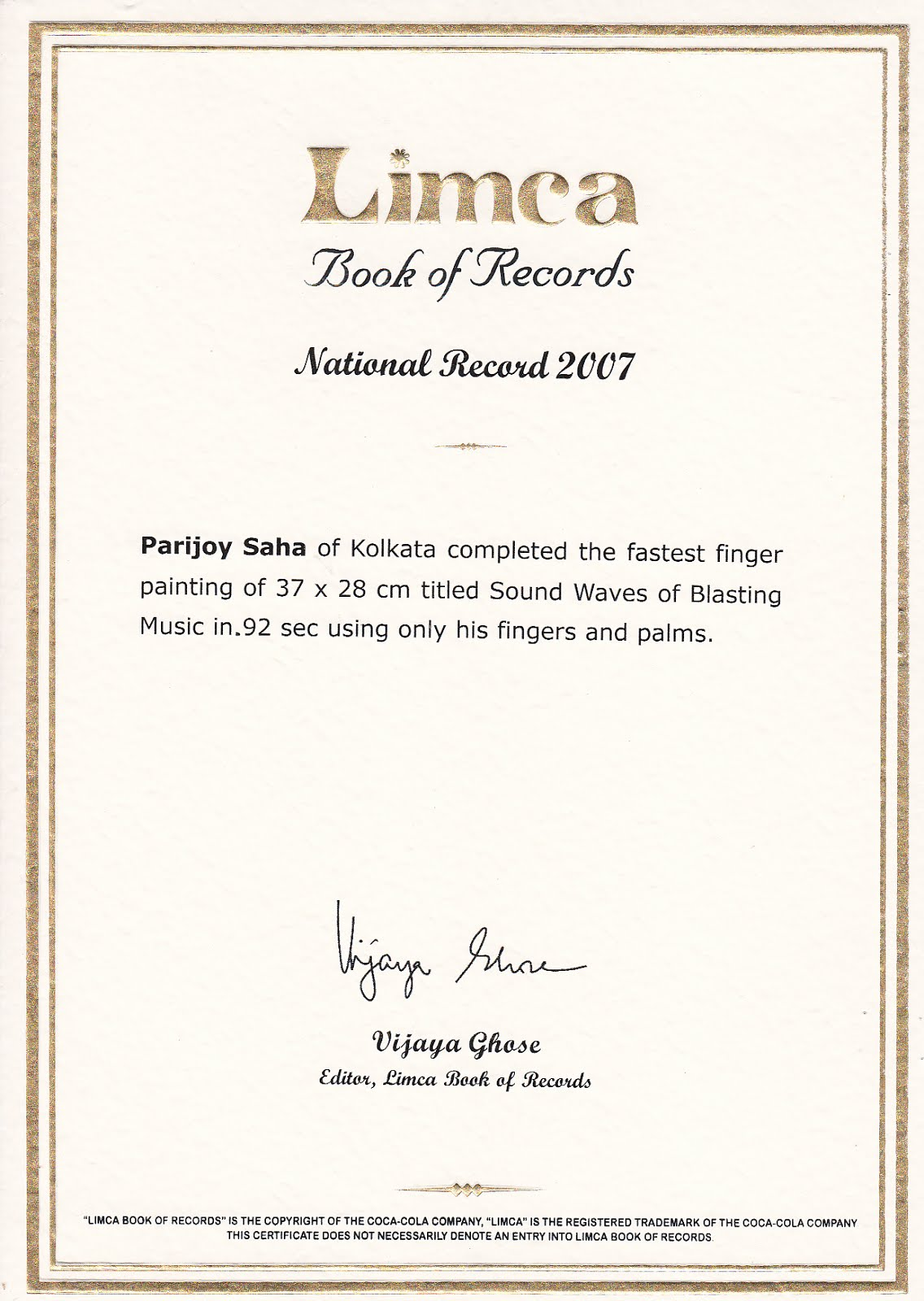 Limca book of Records Fastest Painting