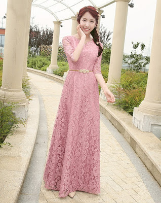 2017 Half Sleeve Pink Flower Lace Evening Long Dress