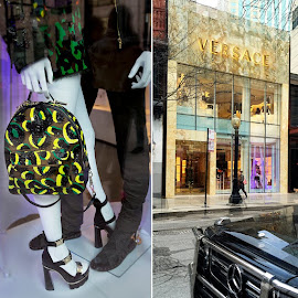 Versace Mulitcolor Sunburn Backpack and Medusa Tri-Strap Platform Sandals