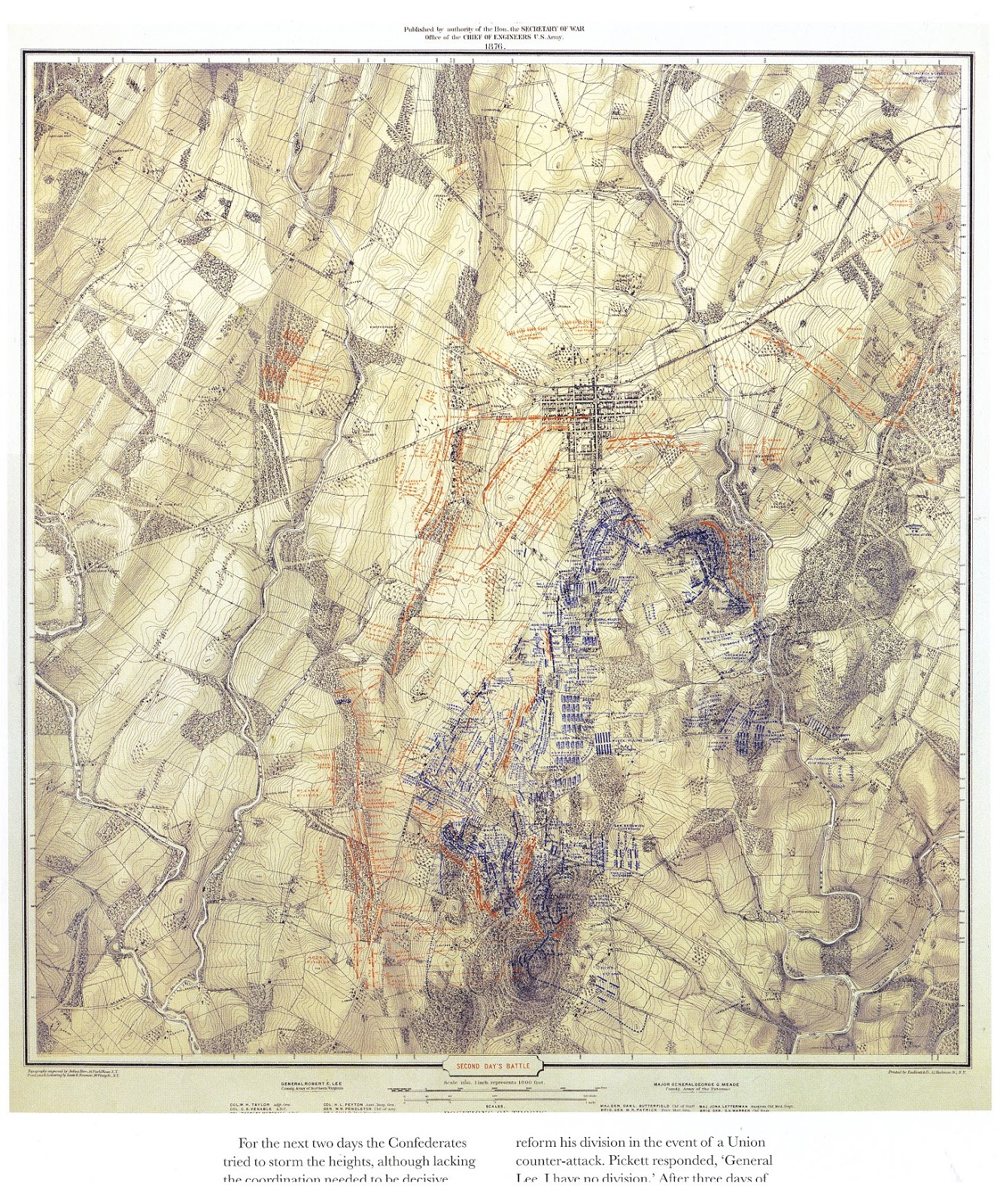produced in 1876 they are wonderful maps that tell the story of the three days of the battle of gettysburg july 1 3 1863 one map for each day