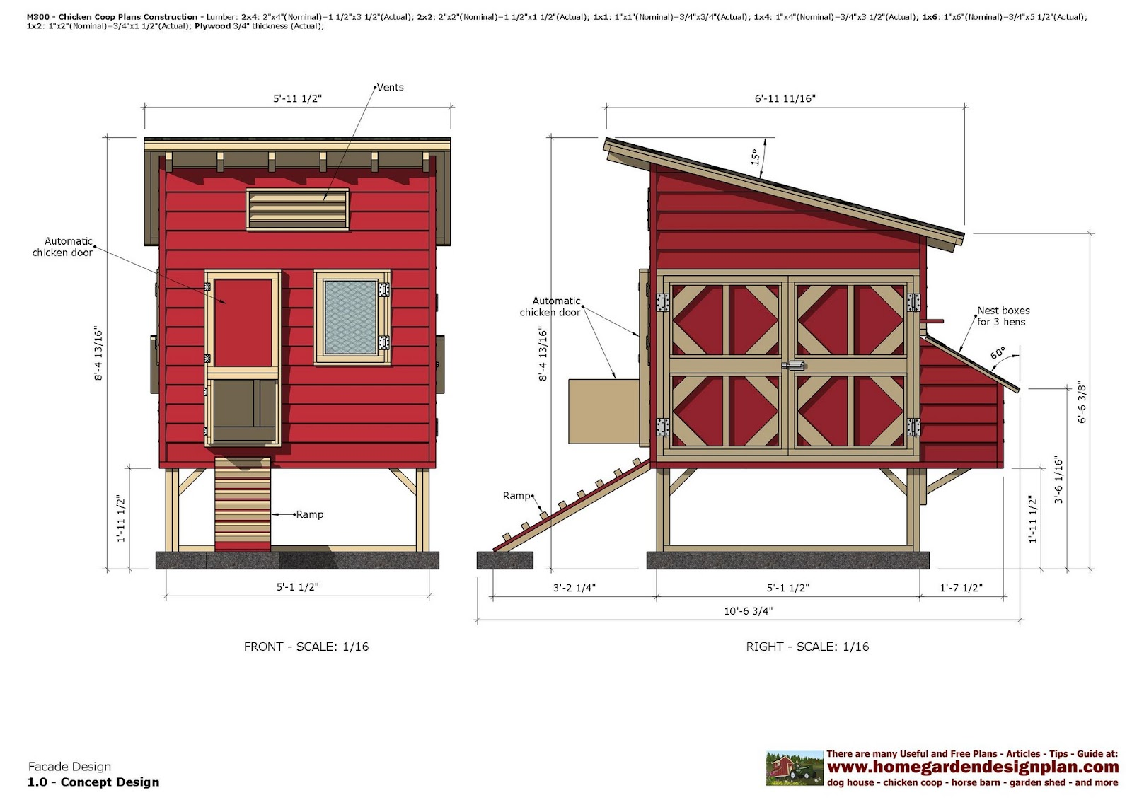 Home garden plans m300 chicken coop plans construction for Free house plans with material list