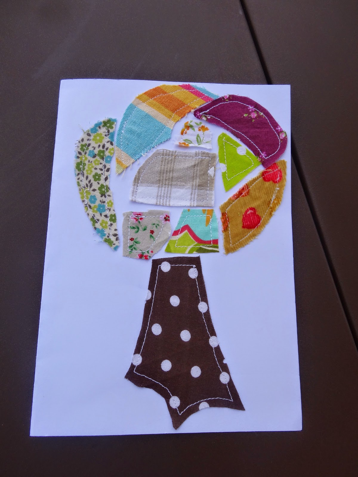 carte patchwork cousue arbre papier