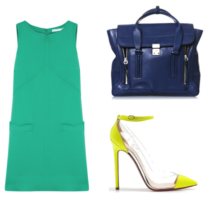 shift dress, jewel tones, summer work wear, victoria beckham dress, phillip lim bag, louboutin bis un bout