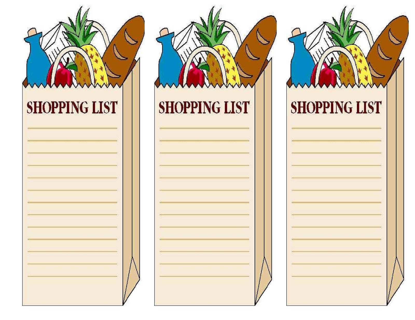 free blank grocery list template .