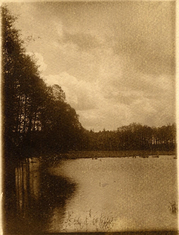 Browary staw. Przepiękna, nostalgiczna fotografia - bromolej (przetłok). Podpisana na odwrocie: Końskie, staw, 1925 r. Foto. prawdopodobnie Henryk Seweryn Zawadzki, w zbiorach KW.