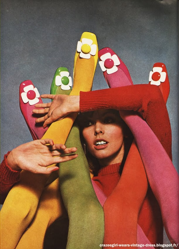 Chaussures Charles Jourdan 1967 60s 1960 mod flower