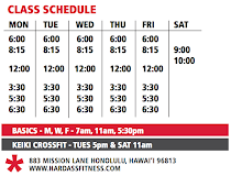 Come try a class! First class is free for local residents. Visiting CrossFitters $20 class/$50 week
