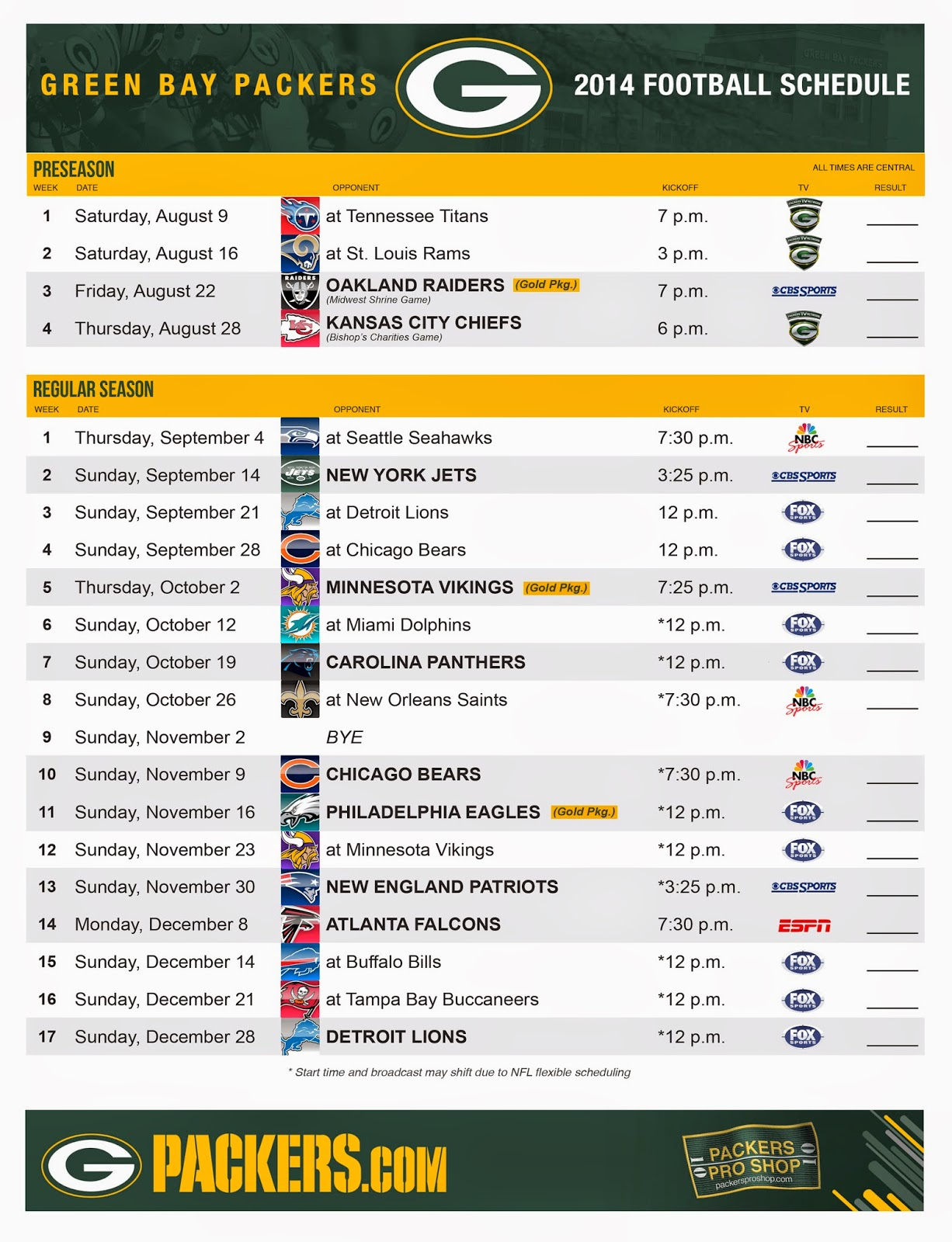 Dramatic image for printable packer schedule