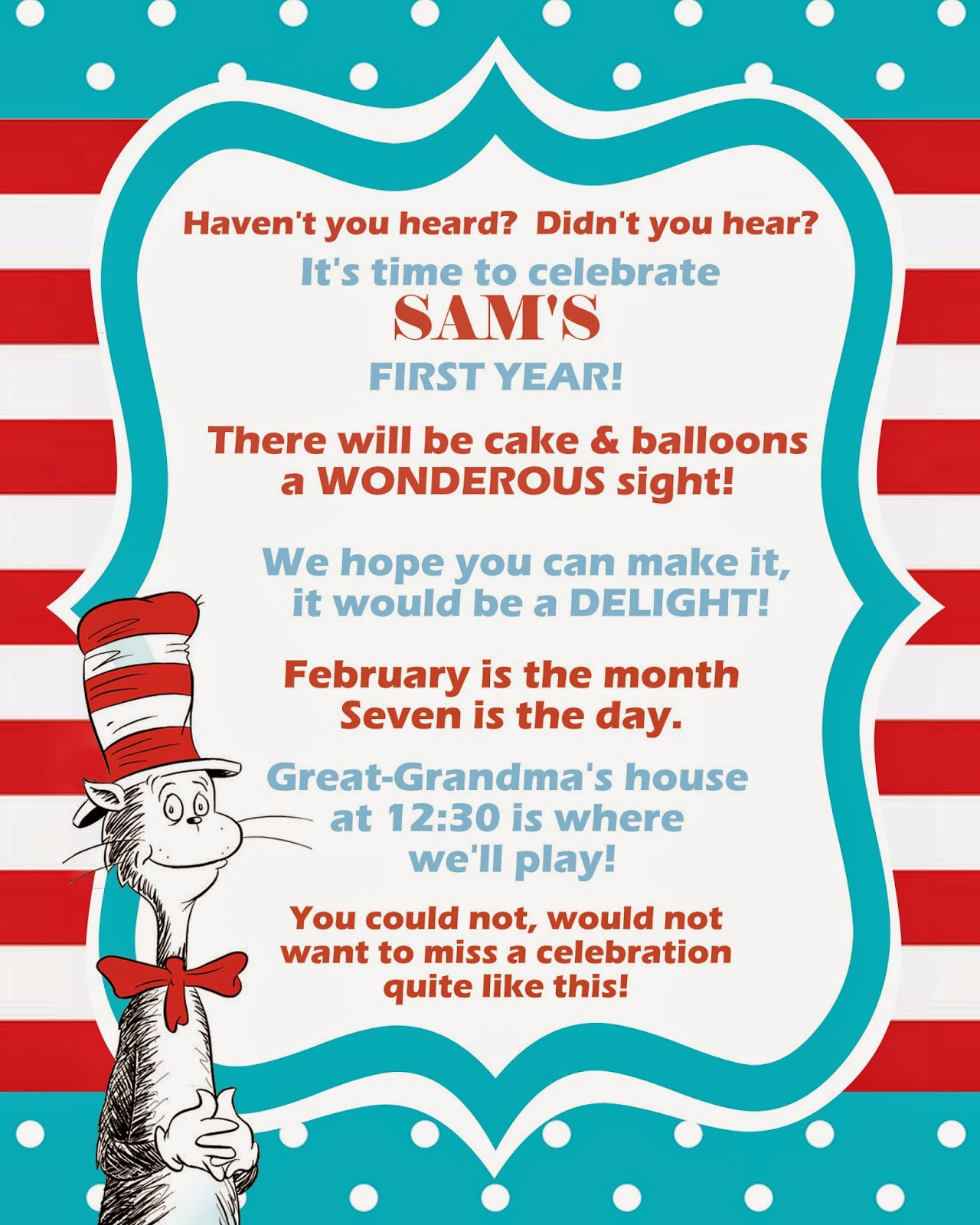 Homemade Heaven Dr Seuss Birthday Party – Dr Seuss Invitations Birthday