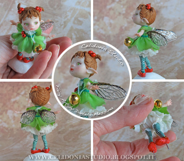 Christmas Time Fairy - Fatina del Natale in pasta sintetica - by Celidonia