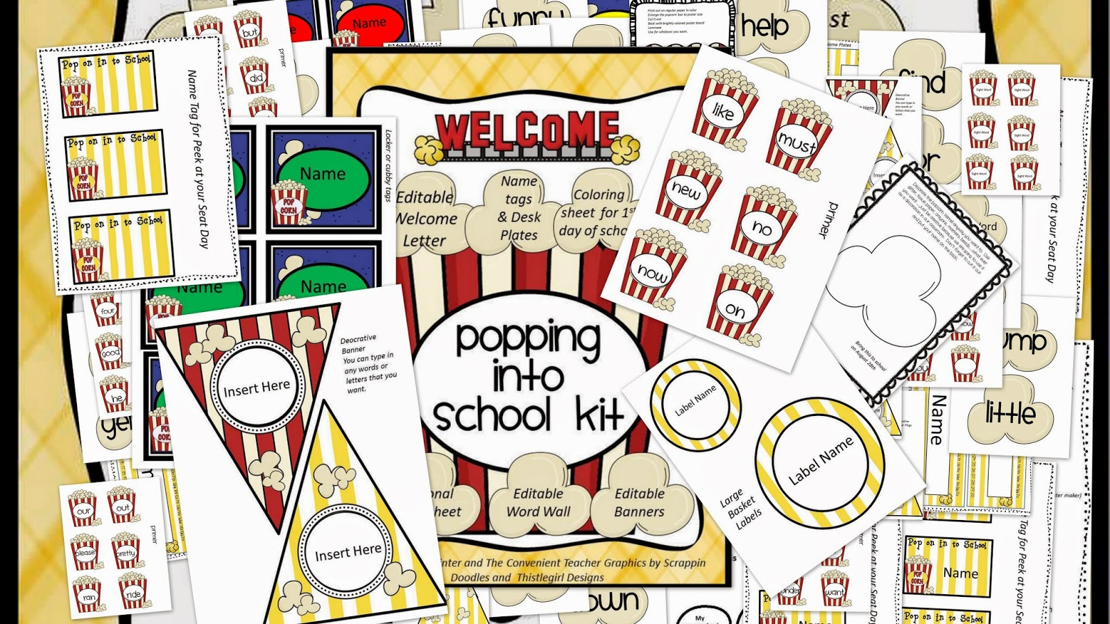 http://www.teacherspayteachers.com/Product/Editable-PopCorn-Welcome-Kit-277144