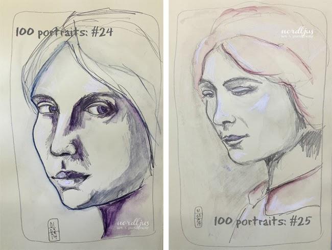 100 portraits 24+25 pencil drawing
