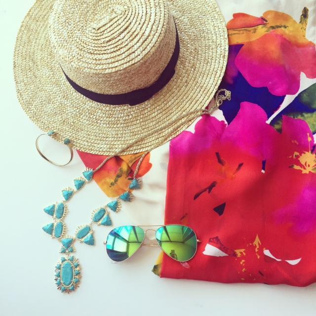 lack of color straw hat, kendra scott statement necklace, kendra scott bracelet, yumi kim floral jumpsuit, fashion blog, rayban sunglasses