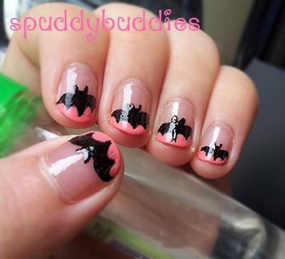 Taken in indirect sunlight - Spud Nails: Pink Bat French Tip Nail Art