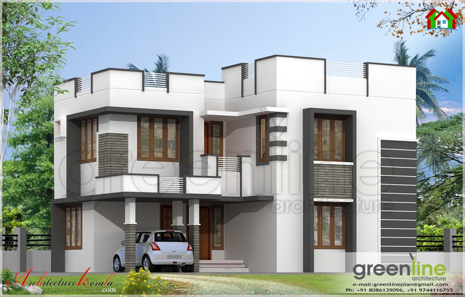 simple house elevation in 1600 square feet architecture