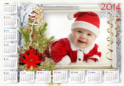 Calendário 2014 com moldura de natal