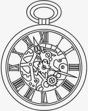 Pocket clock biomechanical (steampunk) tattoo stencil