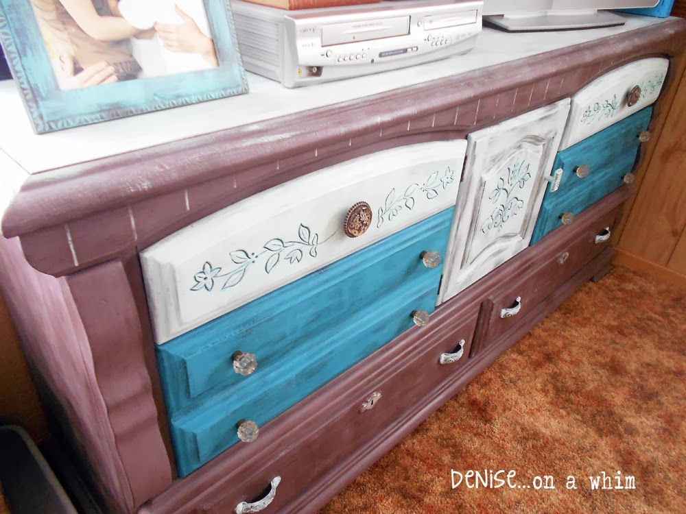 Entertainment Center in Virginia Chestnut via http://deniseonawhim.blogspot.com
