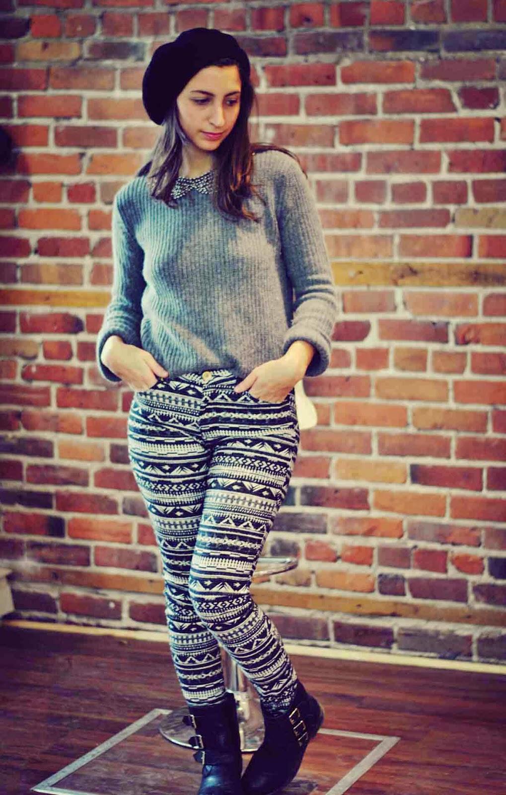 h&m patterned pants grey sweater beaded collar zara black beret