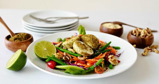Simple Garden Salad with Zaatar Spiced Eggs
