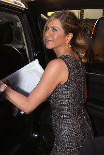 Jennifer Aniston Ponytail Hairstyle with Side Bangs