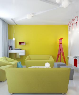 sala apartamento pequeño colores vivos