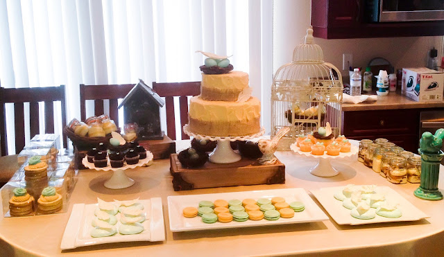 Nest themed baby shower dessert table by Cupcake et Macaron Montreal