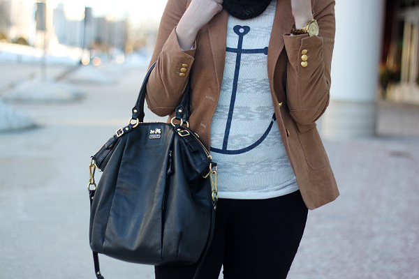 anchor sweater and gold button blazer