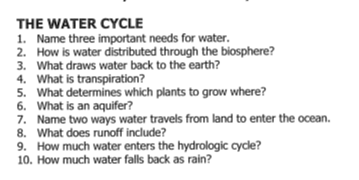 water cycle essay questions Question, answer can springs have cool or warm water both some springs  have cool water and some have hot water if water flows deep in the earth, the.