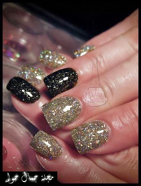 أحدث تصاميم طلاء الأظافر باللونين الأسود والذهبى 2014 - 2015 black nail polish