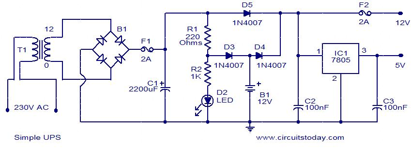 Circuit diagram to represent simple ups electronic