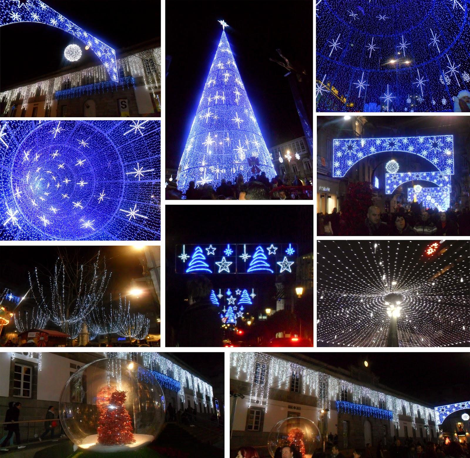 Navidad en las calles de Vigo, árbol, Farola, Marco, Príncipe, Puerta del Sol