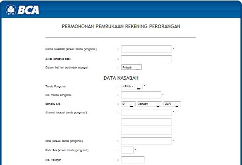 Proses Pengisian Formulir Pembukaan Rekening Melalui Situs KlikBCA