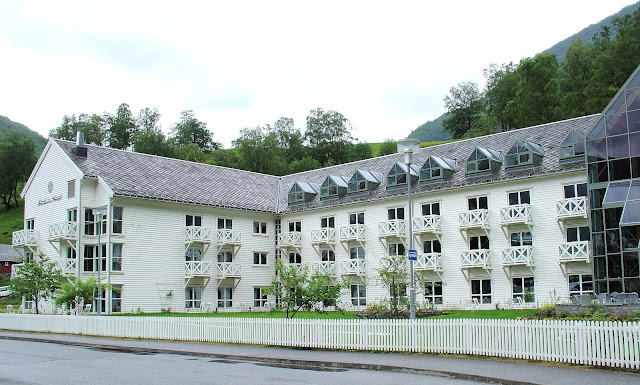 The Fretheim Hotel in Flåm, Norway. This view shows the most current addition of the hotel that was added during the dining room expansion. Photo: EuroTravelogue™.