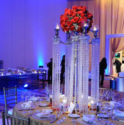 Floral and Crystal Wedding Centerpieces