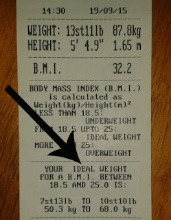Boots Chemist weight and BMI print out