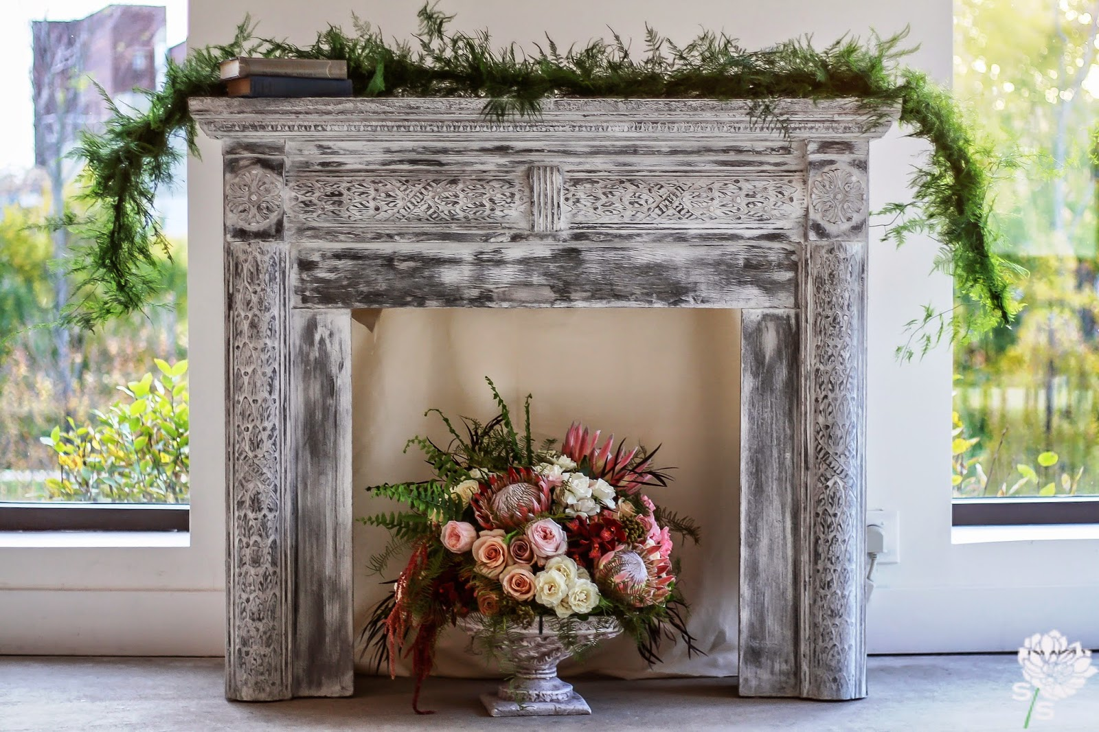 The Roundhouse Wedding - Beacon, NY - Hudson Valley Wedding- Mantle Garland Decor - Wedding Flowers - Splendid Stems Floral Designs