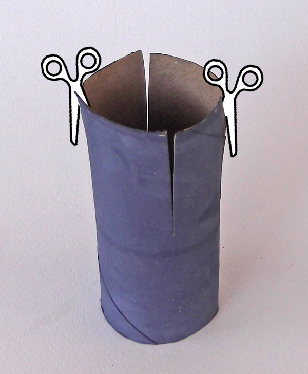 cut slits, tube, paper tube, toilet paper roll