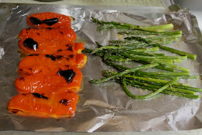 Roasted Red Pepper and Broiled Asparagus