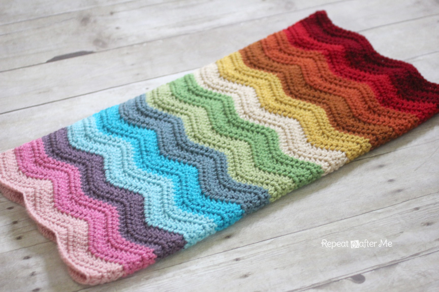 Free Crochet Baby Blanket Ripple Patterns : Rainbow Ripple Crochet Blanket - Repeat Crafter Me