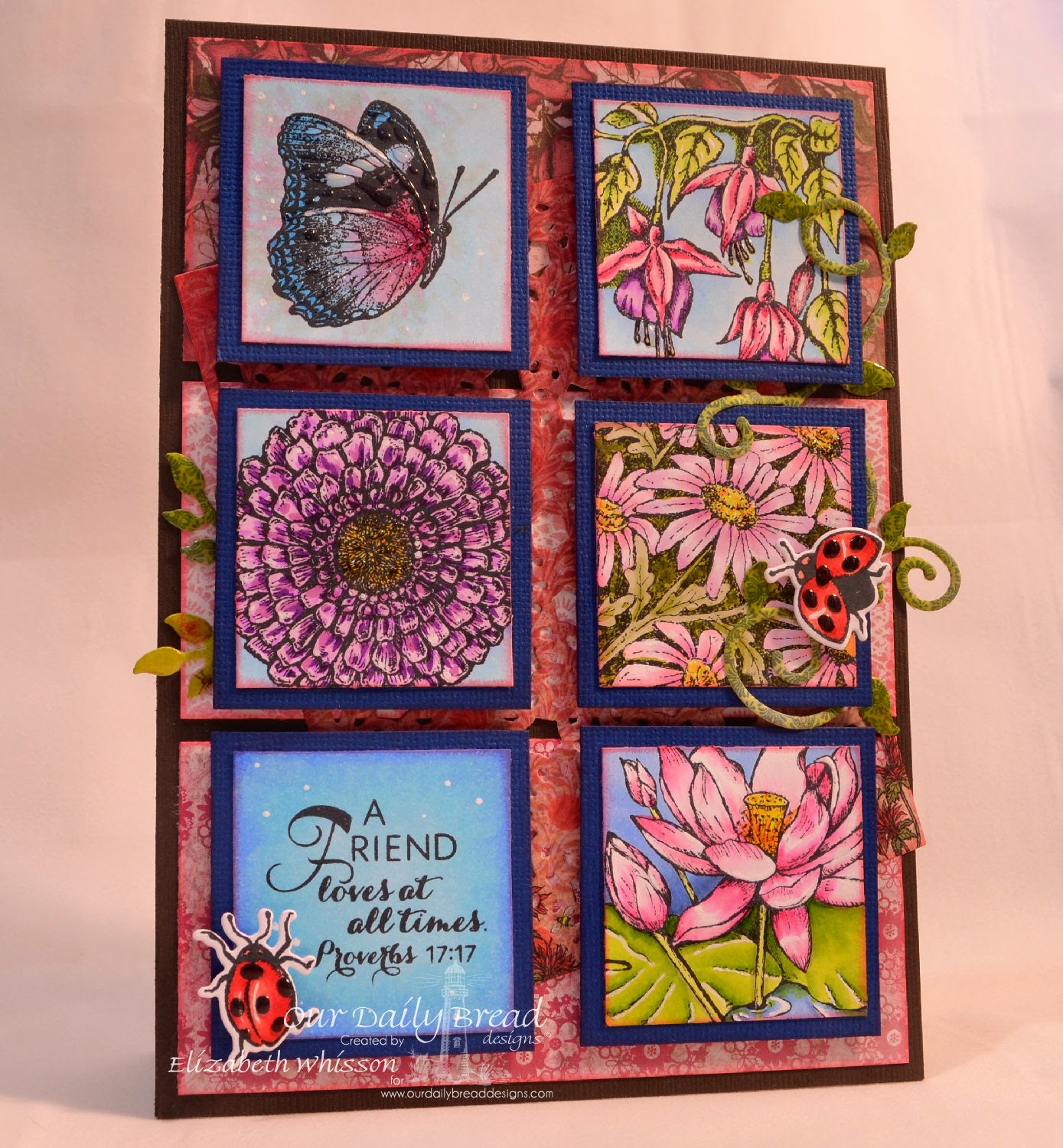 Elizabeth Whisson, Our Daily Bread Designs, Don't Worry, Fuschia, Zinnia, Daisy, Lotus, ODBD Zinnia and Leaves Dies, ODBD Daisy Chain Background Die, ODBD Fancy Foliage Dies, ODBD Blooming Garden Collection, ODBD Heart and Soul Collection