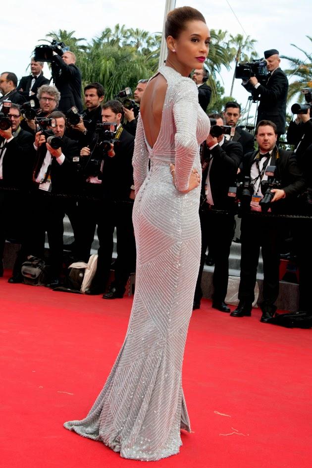 Tais Araújo arrasando no Festival de Cannes 2014: Usando um Vestido longo do Estilista Sandro Barros