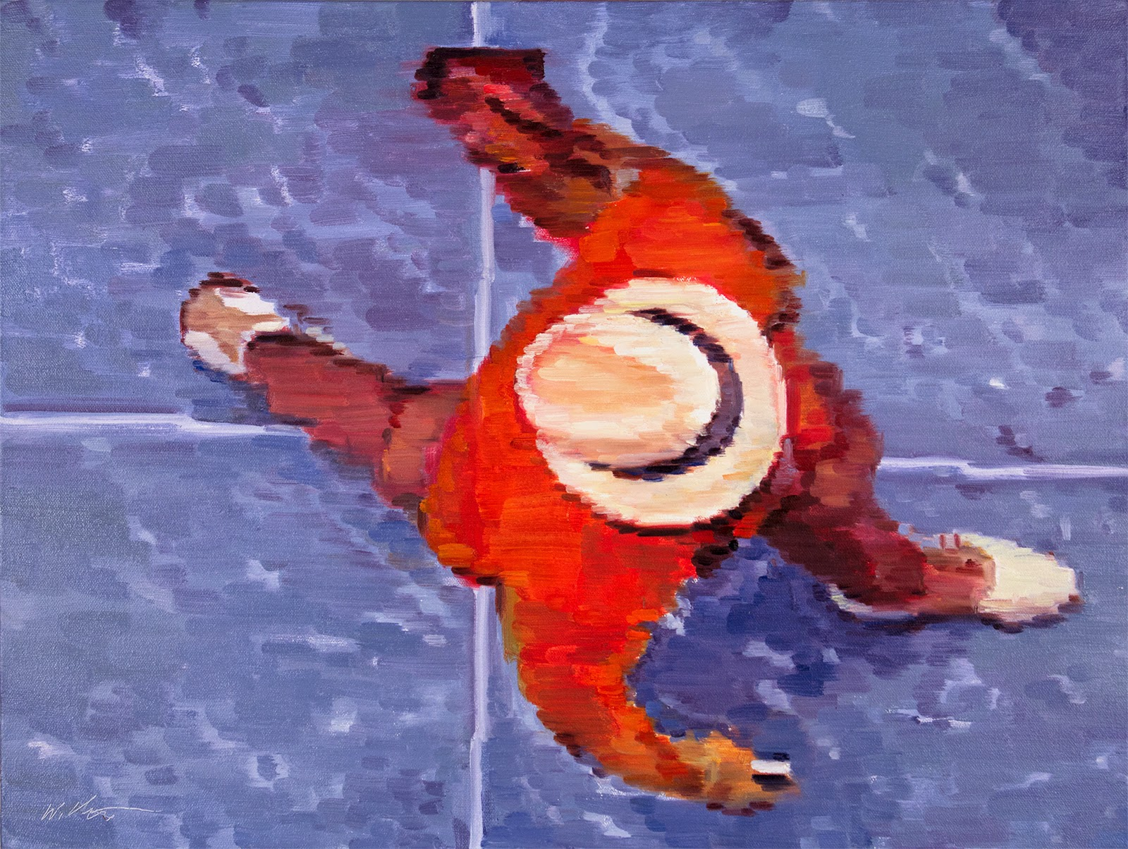 original Pixel Impressionism figurative oil painting