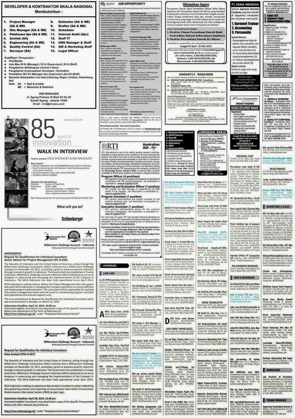 Lowongan kerja koran kompas Sabtu 12 April 2014