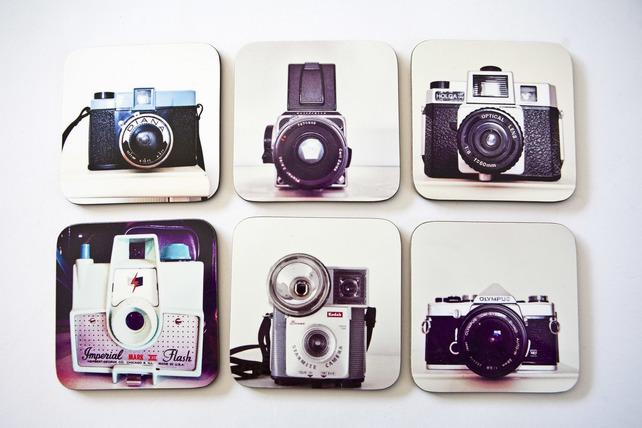 vintage camera coasters