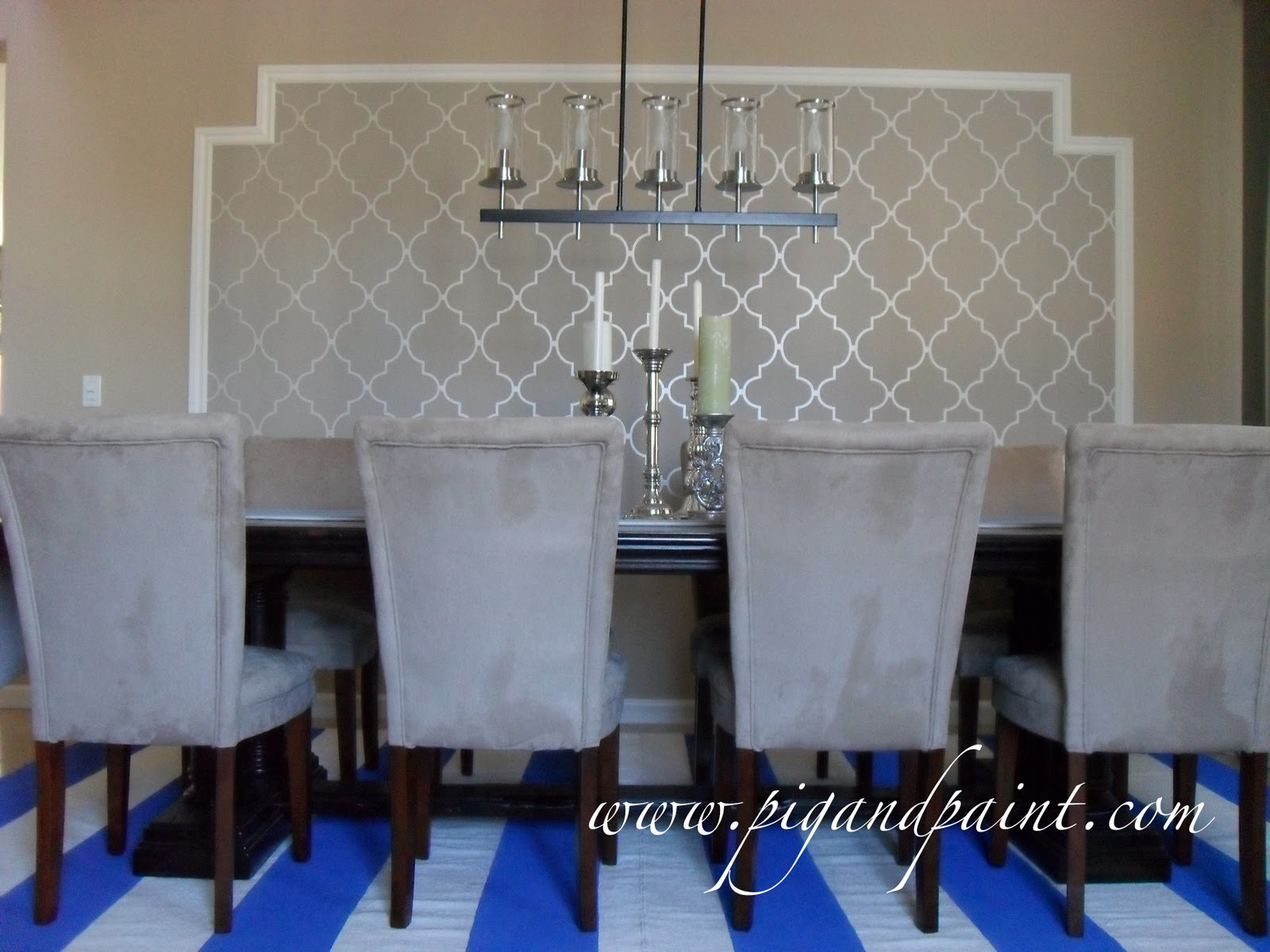 Pig and paint create a feature wall with framed wallpaper for Wallpaper for dining room feature wall
