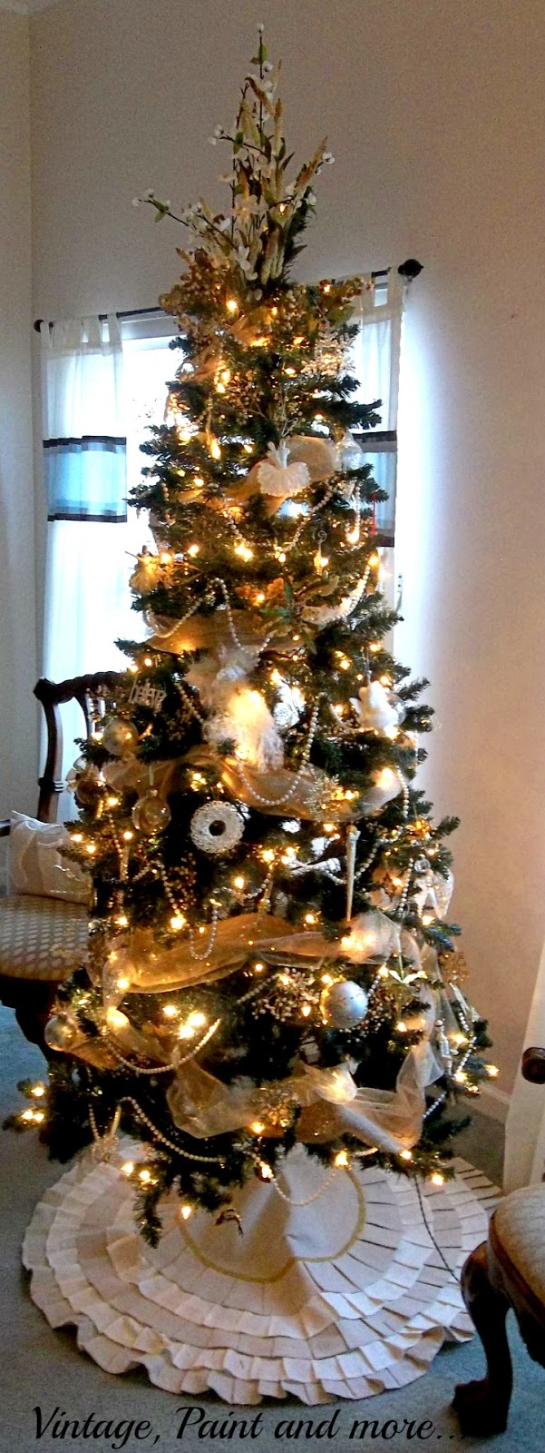 Vintage, Paint and more... neutral Christmas tree with gold and white handcrafted and dollar store ornaments